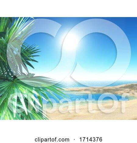 3D Tropical Beach Scene with Palm Trees by KJ Pargeter