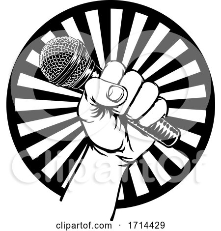 Hand Holding Microphone by AtStockIllustration