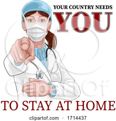 Doctor Woman Needs You Stay Home Pointing Poster by AtStockIllustration