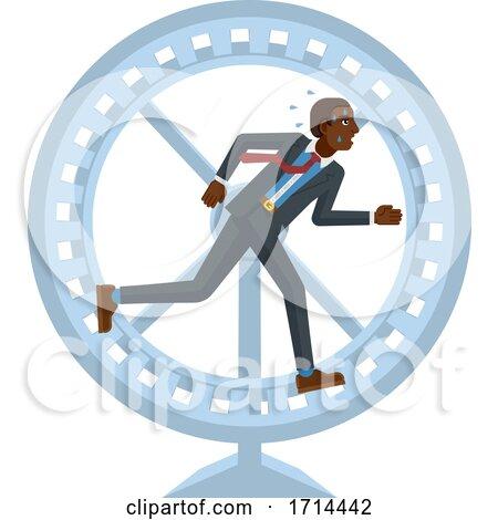 Tired Stressed Business Man Running Hamster Wheel by AtStockIllustration