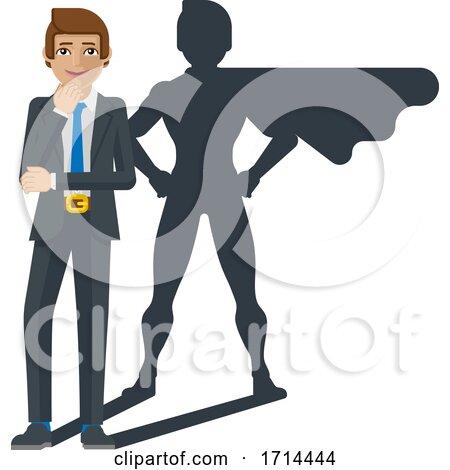 Businessman Super Hero Shadow Cartoon Mascot by AtStockIllustration