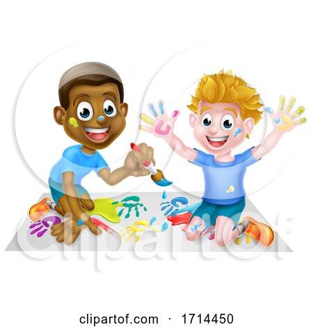 Cartoon Boys Painting Posters, Art Prints
