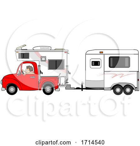 Woman Driving a Red Pickup Truck with a Camper and Hauling a Horse Trailer by djart