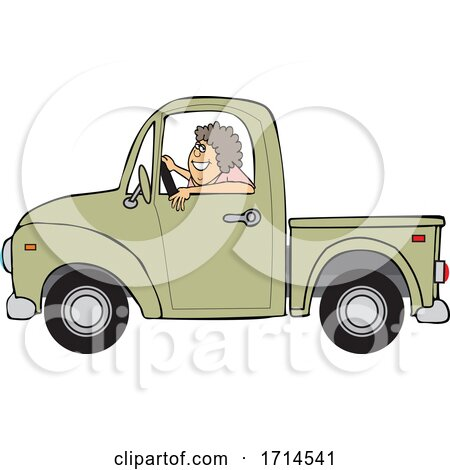 Cartoon Happy Woman Driving a Pickup Truck by djart