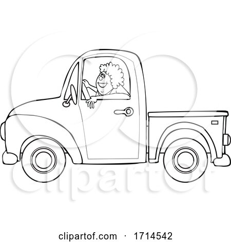 Cartoon Black and White Happy Woman Driving a Pickup Truck by djart