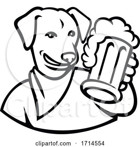 English Lab Dog Beer Mug Black and White by patrimonio