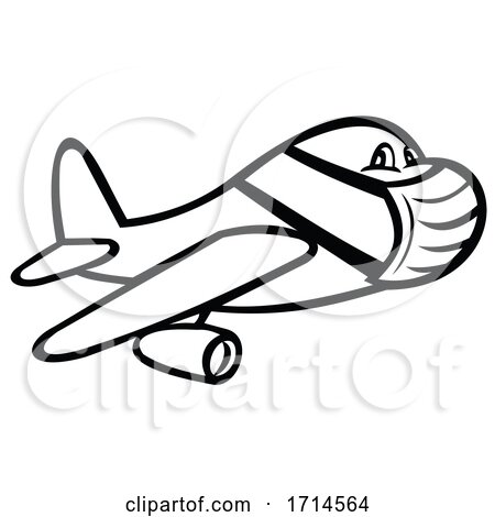 Jet Plane or Airplane Wearing Surgical Mask by patrimonio