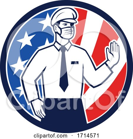 American Immigration Officer Wearing Face Mask by patrimonio
