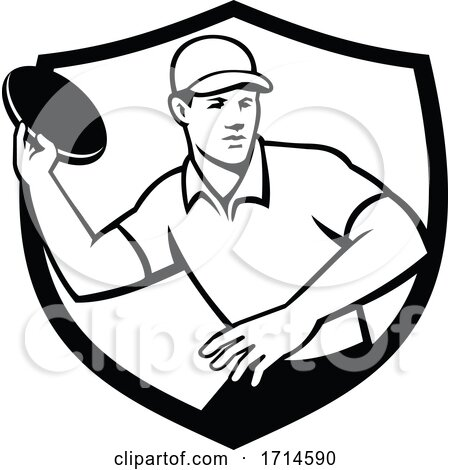 Disc Golf Player Throwing Crest Black and White by patrimonio