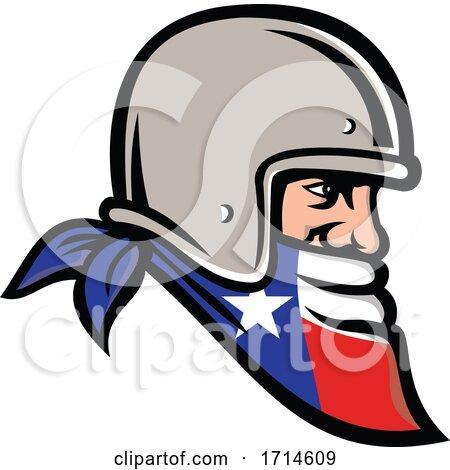Texan-bandit-wearing-motorbike-helmet-side-MASCOT by patrimonio