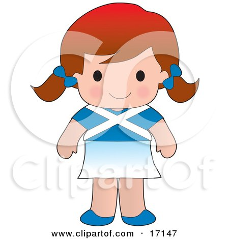 Cute Scottish Girl Wearing A Flag Of Scotland Shirt Clipart Illustration by Maria Bell