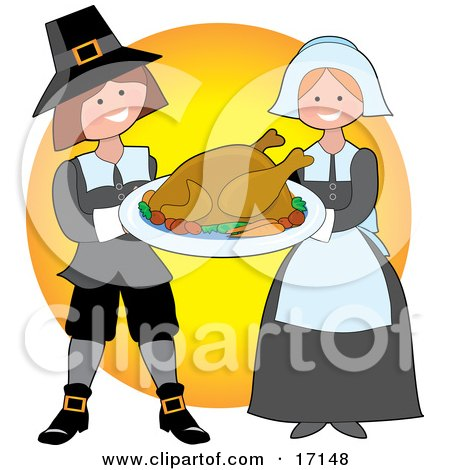 Kind Pilgrim Couple Carrying A Cooked Thanksgiving Turkey On A Tray Clipart Illustration by Maria Bell