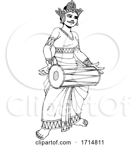 Female Sri Lankan Drummer in Black and White by Lal Perera