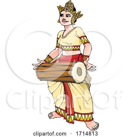 Female Sri Lankan Drummer by Lal Perera