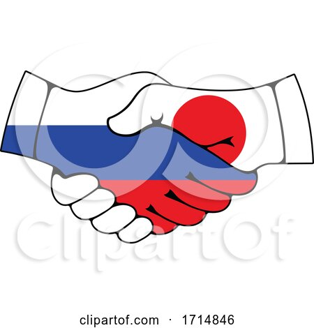 Japanese and Russian Flag Hands Shaking Posters, Art Prints