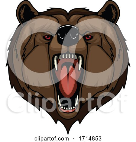 Angry Red Eyed Bear Roaring by Vector Tradition SM