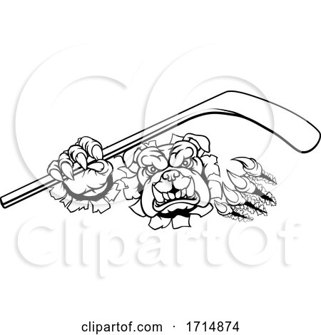 Bulldog Ice Hockey Player Animal Sports Mascot by AtStockIllustration