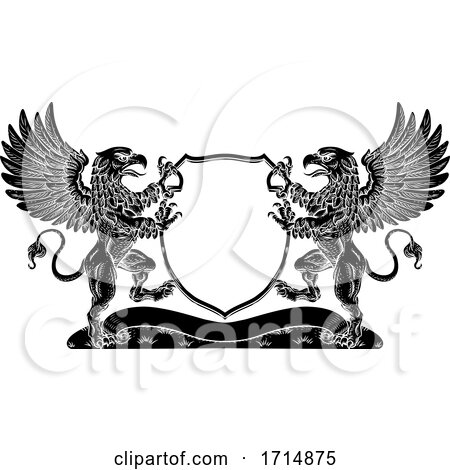 Coat of Arms Griffin Crest Griffon Family Shield by AtStockIllustration