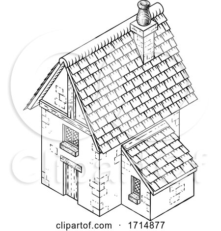 Cottage House Vintage Woodcut Building Map Icon by AtStockIllustration