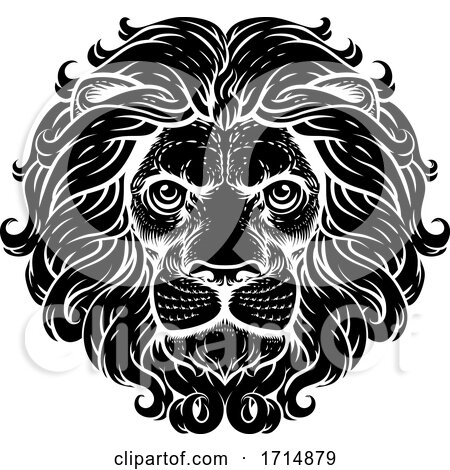 Lion Leo Fierce Lions Head Woodcut Animal Icon by AtStockIllustration
