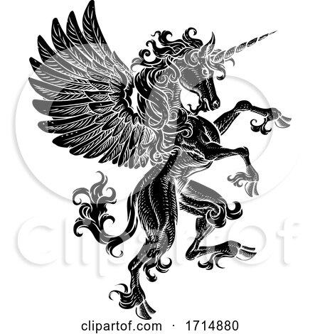 Pegasus Unicorn Rearing Rampant Crest Wings Horse by AtStockIllustration