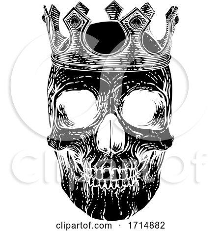 Skull Human Skeleton King Wearing Royal Crown by AtStockIllustration