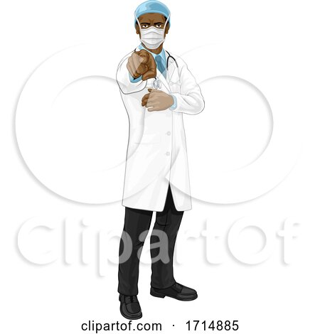 Doctor in PPE Mask Pointing Needs You by AtStockIllustration