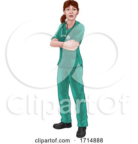 Doctor or Nurse Woman in Scrubs Medical Worker by AtStockIllustration