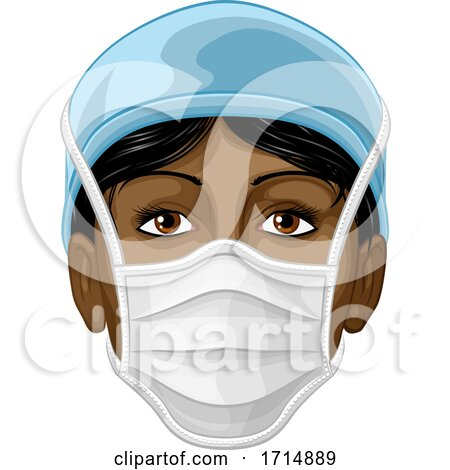 Doctor or Nurse Wearing PPE Protective Face Mask by AtStockIllustration
