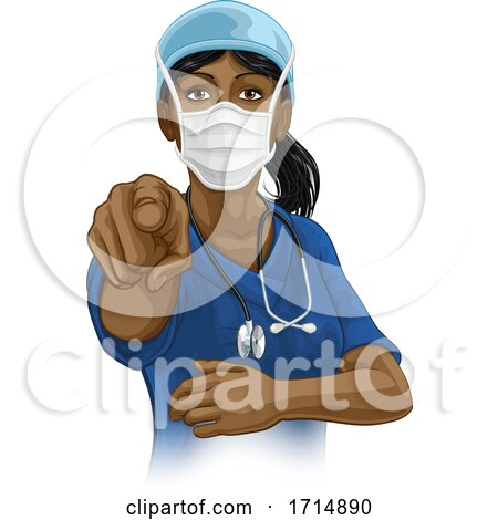 Doctor or Nurse Woman in Scrubs Uniform Pointing by AtStockIllustration