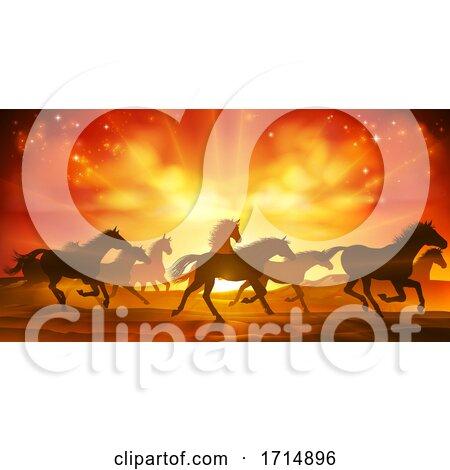 Running Horses Silhouette Herd Background by AtStockIllustration