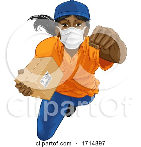 Delivery Superhero Delivering Package Parcel Box by AtStockIllustration