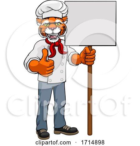 Tiger Chef Cartoon Restaurant Mascot Sign by AtStockIllustration
