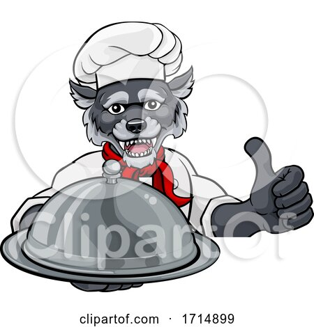 Wolf Chef Mascot Sign Cartoon Character by AtStockIllustration
