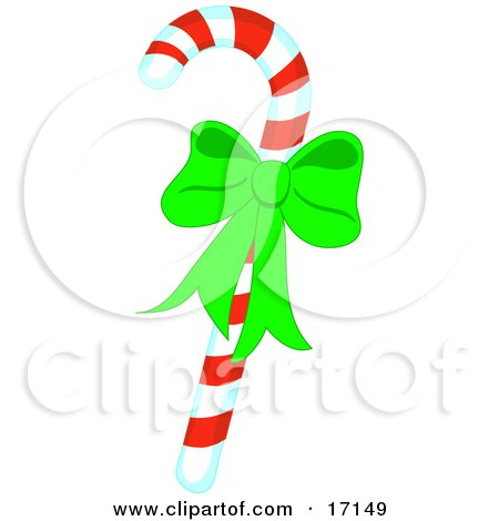 Christmas Peppermint Candy Cane With Red And Yellow Stripes And A Green Bow Clipart Illustration