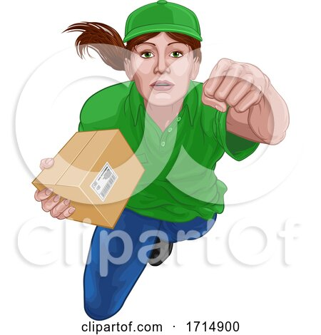 Courier Delivery Superhero Delivering Package Box by AtStockIllustration