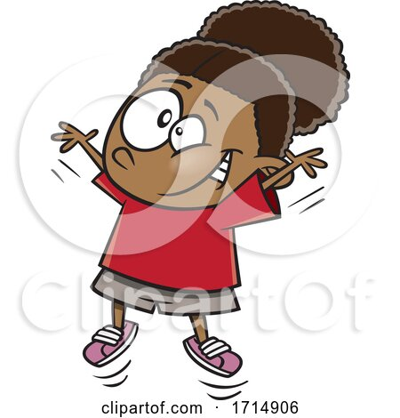 Cartoon Girl Doing Jumping Jacks by toonaday