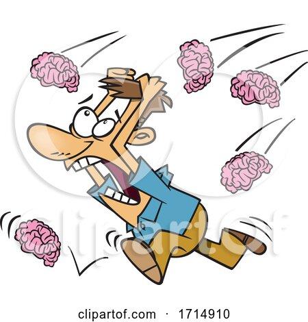 Cartoon Man Running in a Brain Storm by toonaday
