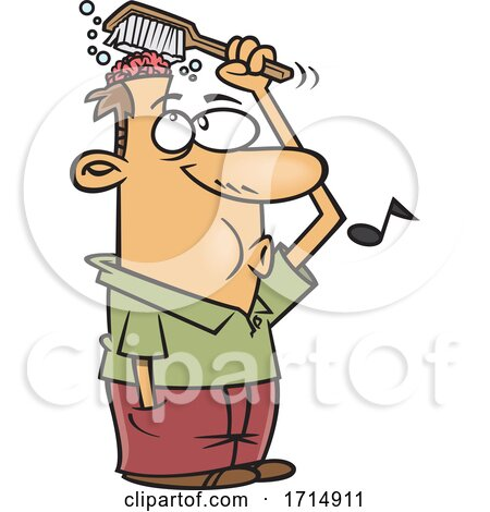 Cartoon Man Washing His Brain by toonaday