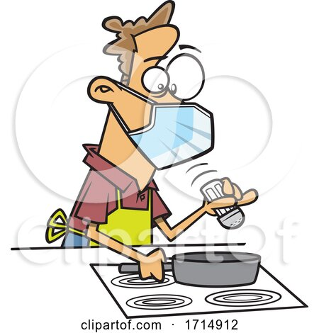 Cartoon Careful Man Wearing a Mask and Cooking by toonaday