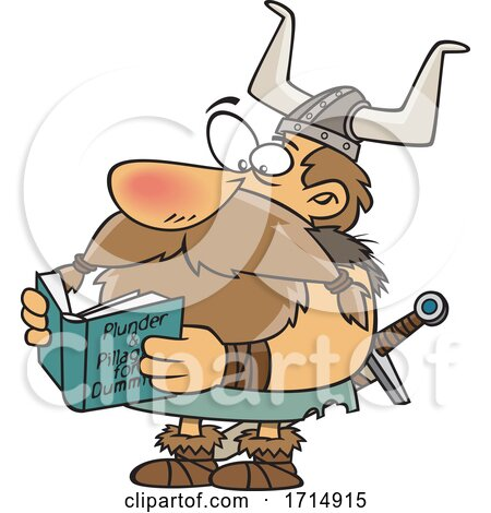Cartoon Viking Reading a Book by toonaday