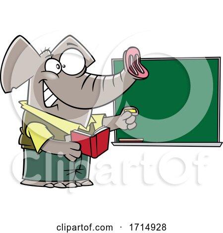 Cartoon Teacher Elephant by toonaday