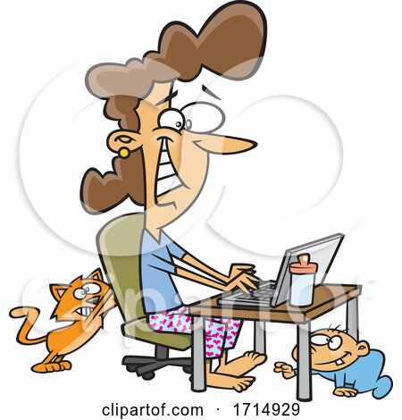 Cartoon Woman Working at Home As Her Baby Crawls and Cat Scratches Her Chair Posters, Art Prints