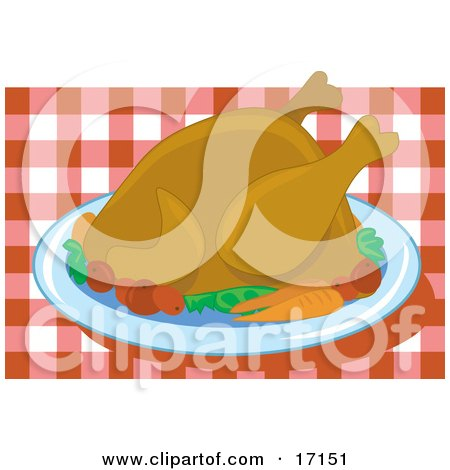 Cooked Thanksgiving Turkey Bird Served On A Platter With Vegetables Over A Red And White Checkered Table Cloth Clipart Illustration by Maria Bell