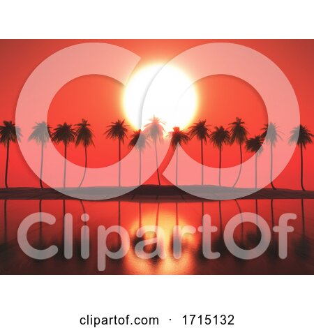 3D Palm Tree Landscape Against a Sunset Sky by KJ Pargeter