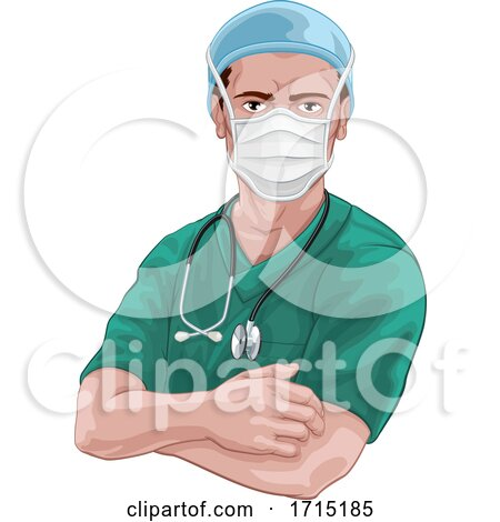 Nurse or Doctor in Scrubs and Surgical Mask PPE by AtStockIllustration