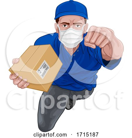 Courier Superhero Delivering Package Parcel Box by AtStockIllustration