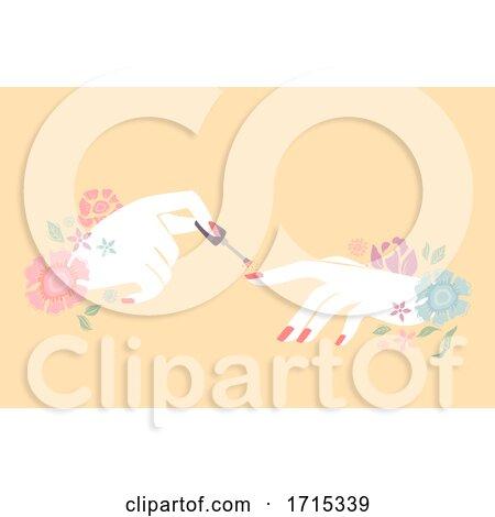 Hands Floral Manicured Nail Polish Illustration by BNP Design Studio