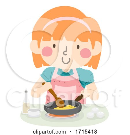 Kid Girl Cook Scrambled Egg Illustration Posters, Art Prints