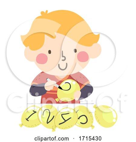 Kid Boy Balloon Numbers Illustration by BNP Design Studio